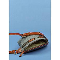 Фетровая женская поясная сумка Spirit с кожаными коричневыми вставками, фото 3