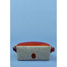 Фетровая женская поясная сумка Spirit с кожаными коричневыми вставками, фото 2