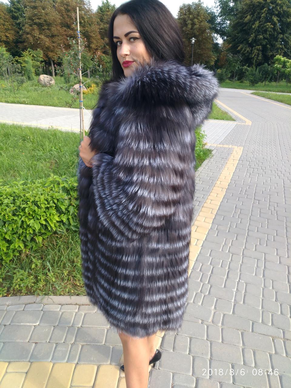 Женская шуба из чернобурки длинная с капюшоном (491)
