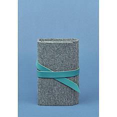 Фетровый женский блокнот (Софт-бук) 1.0 с кожаными бирюзовыми вставками