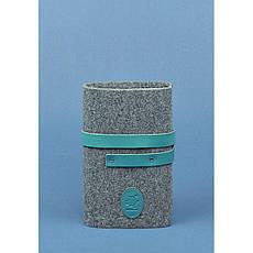 Фетровый женский блокнот (Софт-бук) 1.0 с кожаными бирюзовыми вставками, фото 3