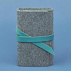 Фетровый женский блокнот (Софт-бук) 1.0 с кожаными бирюзовыми вставками, фото 2