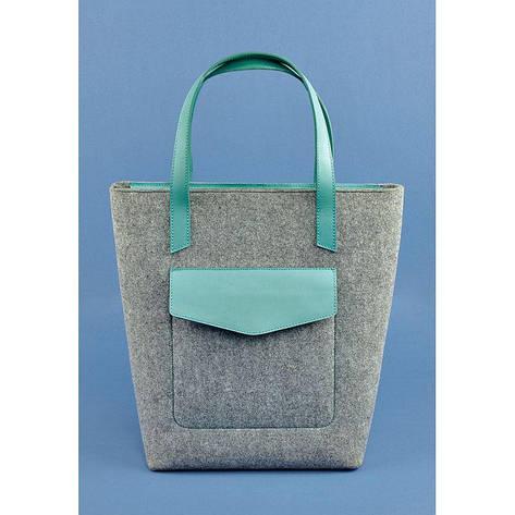 Фетровая женская сумка Шоппер D.D. с кожаными бирюзовыми вставками, фото 2