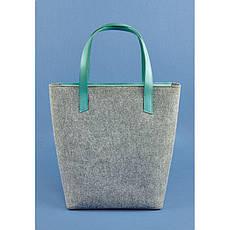 Фетровая женская сумка Шоппер D.D. с кожаными бирюзовыми вставками, фото 3
