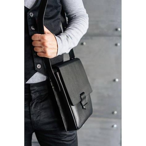 Мужская кожаная сумка-мессенджер Esquire черная, фото 2