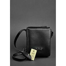 Мужская кожаная сумка-мессенджер Esquire черная, фото 3