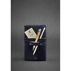 Кожаный блокнот (Софт-бук) 1.0 синий, фото 3