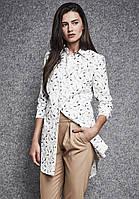Женская удлиненная рубашка белого цвета с принтом. Модель 260035 Enny, фото 1