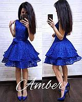 Гипюровое платье с пышной двойной юбкой 8031820