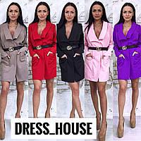 Платье-пиджак с поясом и карманами 5031819, фото 1