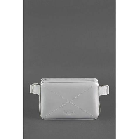 Кожаная женская поясная сумка Dropbag Mini серая, фото 2
