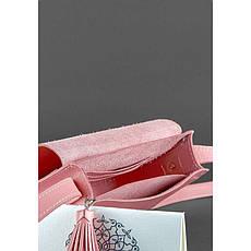 Кожаная женская бохо-сумка Лилу розовая, фото 2