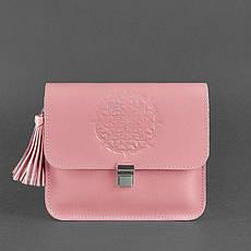 Кожаная женская бохо-сумка Лилу розовая, фото 3