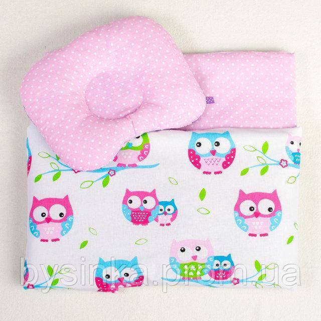 Постельное белье в детскую колыбель BabySoon Нежные Совушки три предмета цвет розовый (414)