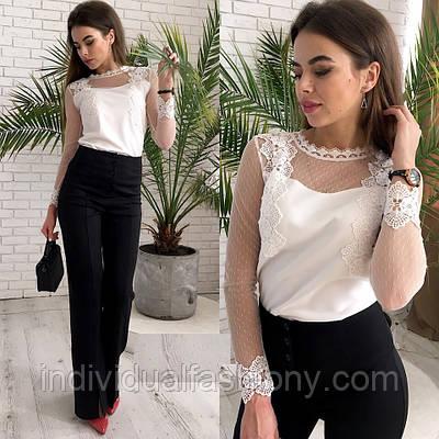 Блуза «Верона» с кружевом макраме