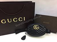 Сумка бананка Gucci Lux из натуральной кожи черный цвет в полном комплекте  арт 20109 947a515965930