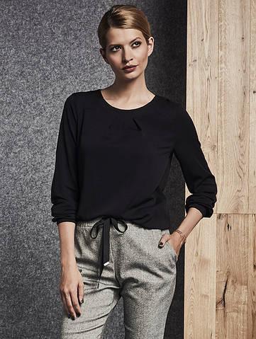 Женская блуза черного цвета с длинным рукавом. Модель 260071 Enny, коллекция осень-зима 2018-2019