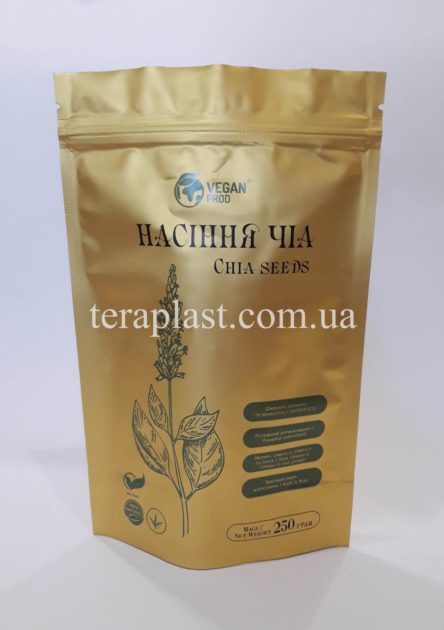 Пакет Дой-Пак золото 100г 130х200 с печатью в 2 цвета