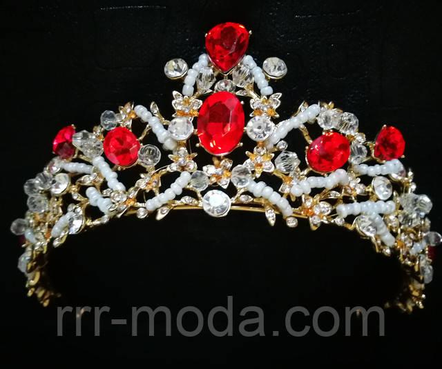 Свадебные короны с красными камнями оптом.