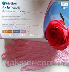 Нитриловые перчатки розовые Medicom (100 шт), фото 2