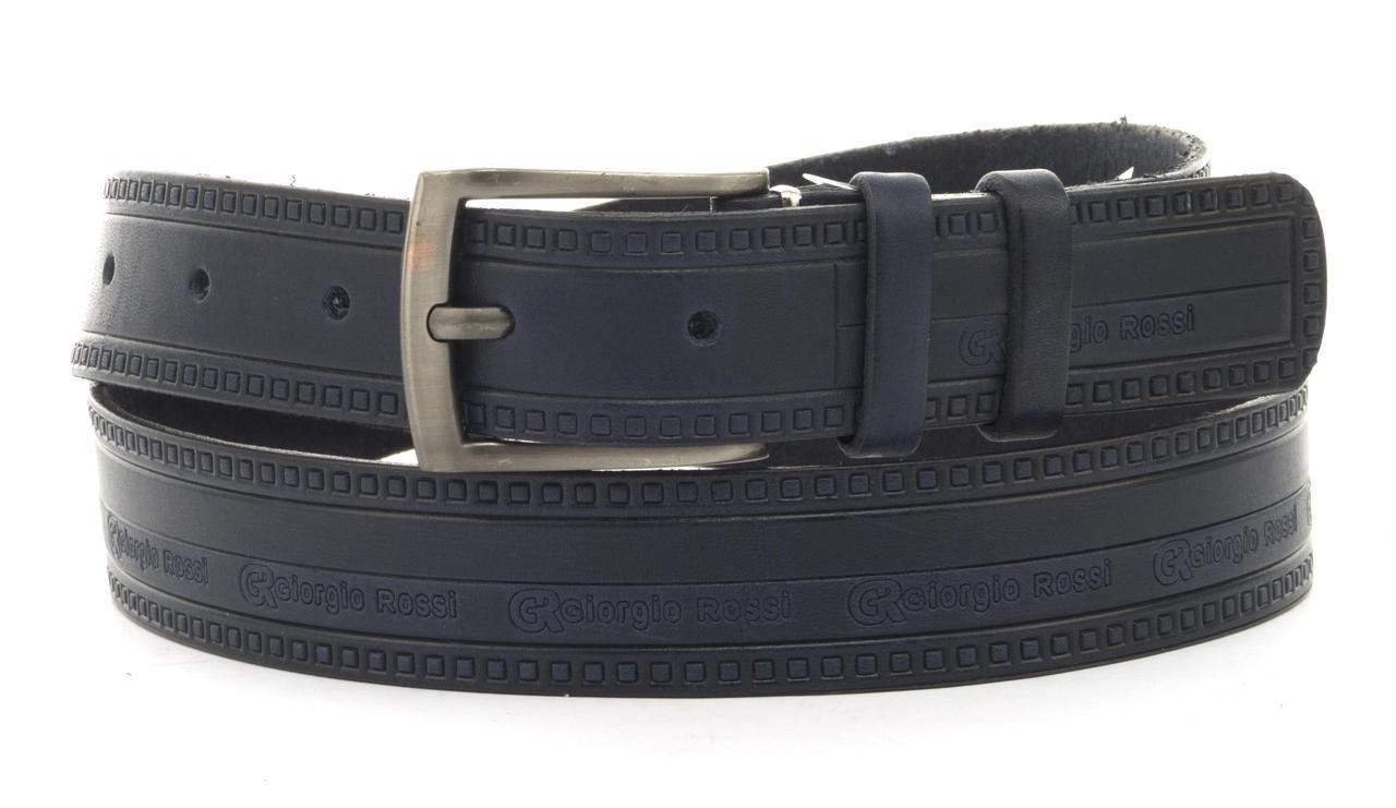 Ремінь чоловічий під джинси з міцної натуральної шкіри 3,5 см (102268) Україна синій тиснений