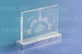 Сувенир из стекла с лазерной наружной гравировкой