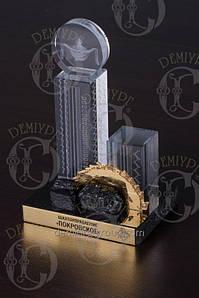 Сувенир из стекла с лазерной 3D гравировкой на камне