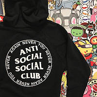 Худи свитшот с капюшоном черный с белыми надписями молодежный модный от бренда ASSC Анти Сошиал Сошиал Клаб