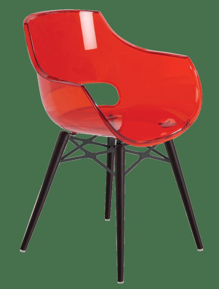 Крісло Papatya Opal-Wox прозоро-червоний, рама лакований бук венге