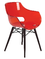 Крісло Papatya Opal-Wox прозоро-червоний, рама лакований бук венге, фото 1
