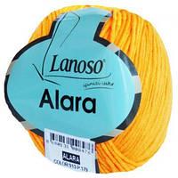 Пряжа для ручного вязания Lanoso, Alara, хлопок. Цвет: 913 (желтая)