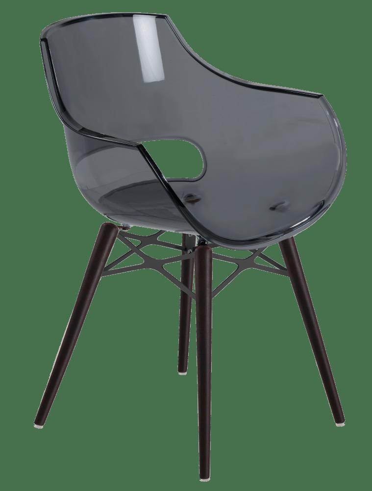 Кресло Papatya Opal-Wox прозрачно-серое, рама лакированный бук венге