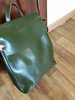 Женская кожаная сумка рюкзак в зеленом цвете