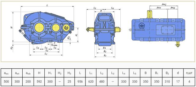 Габаритные размеры редуктора РМ-500 чертеж