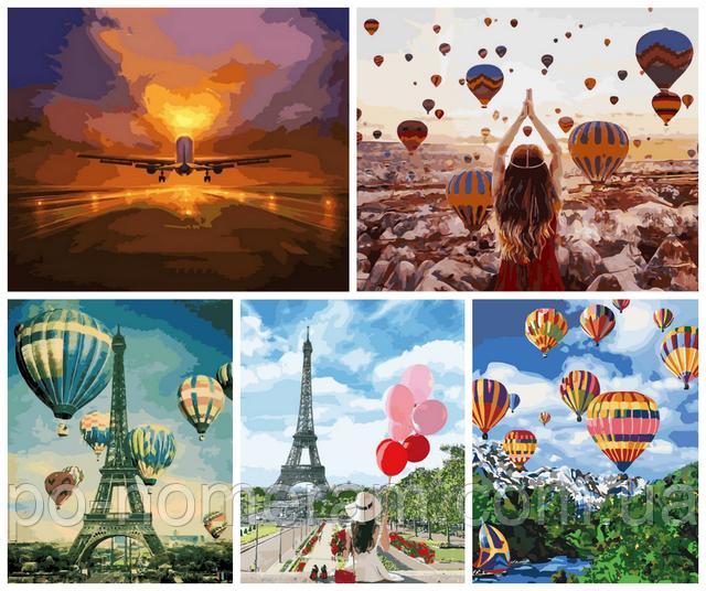Воздушные шары и самолет — картины по номерам с трендовыми рисунками