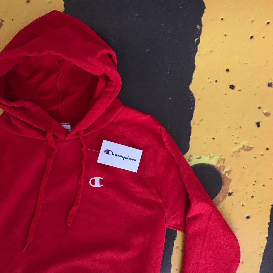 f30d60e3 Худи толстовка с капюшоном красная Champion Чемпион - Доберман шоп -  уличный шмот в Харькове