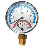 Термоманометр с клапаном ∅ 1/2, фото 2