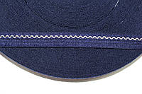 Тесьма акрил 16мм волна (50м) синий+св.беж