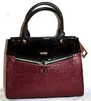 Женская каркасная бордовая сумка B Elit из кожзама с лаковой вставкой, с длинным ремешком 32*26 см, фото 1