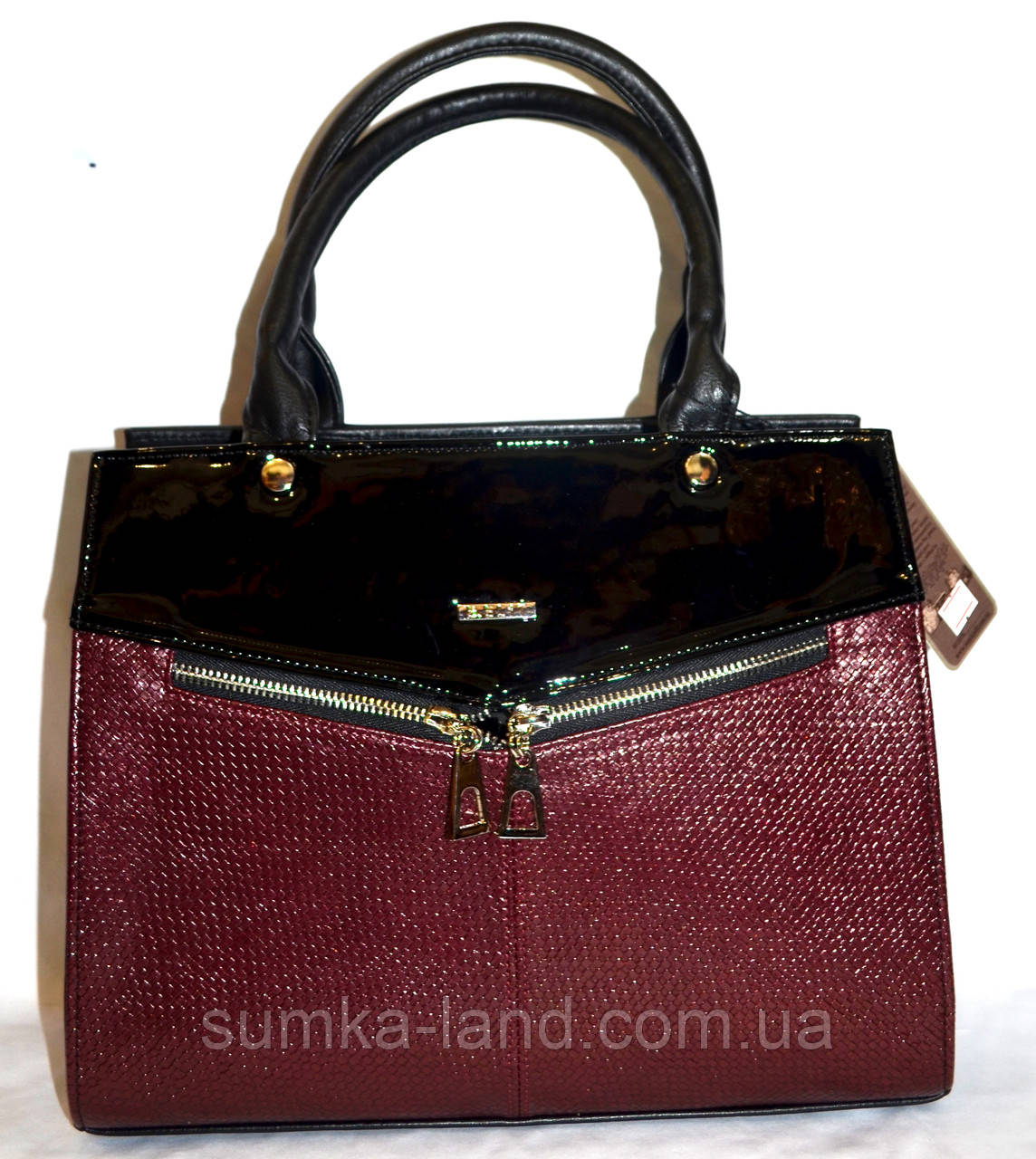 Женская каркасная бордовая сумка B Elit из кожзама с лаковой вставкой, с длинным ремешком 32*26 см