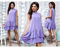 Платье женское короткое без рукавов с двойной оборкой P10263, фото 1