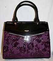 Женская каркасная фиолетовая сумка B Elit из кожзама с лаковой вставкой, с длинным ремешком 32*26 см, фото 1