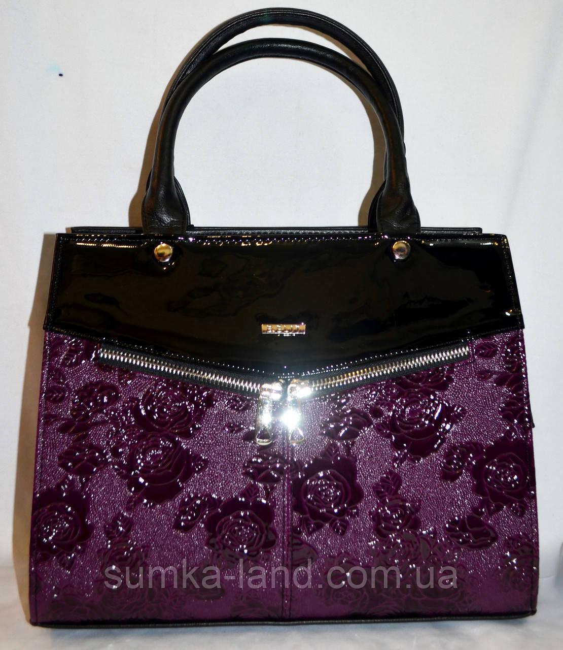 Женская каркасная фиолетовая сумка B Elit из кожзама с лаковой вставкой, с длинным ремешком 32*26 см