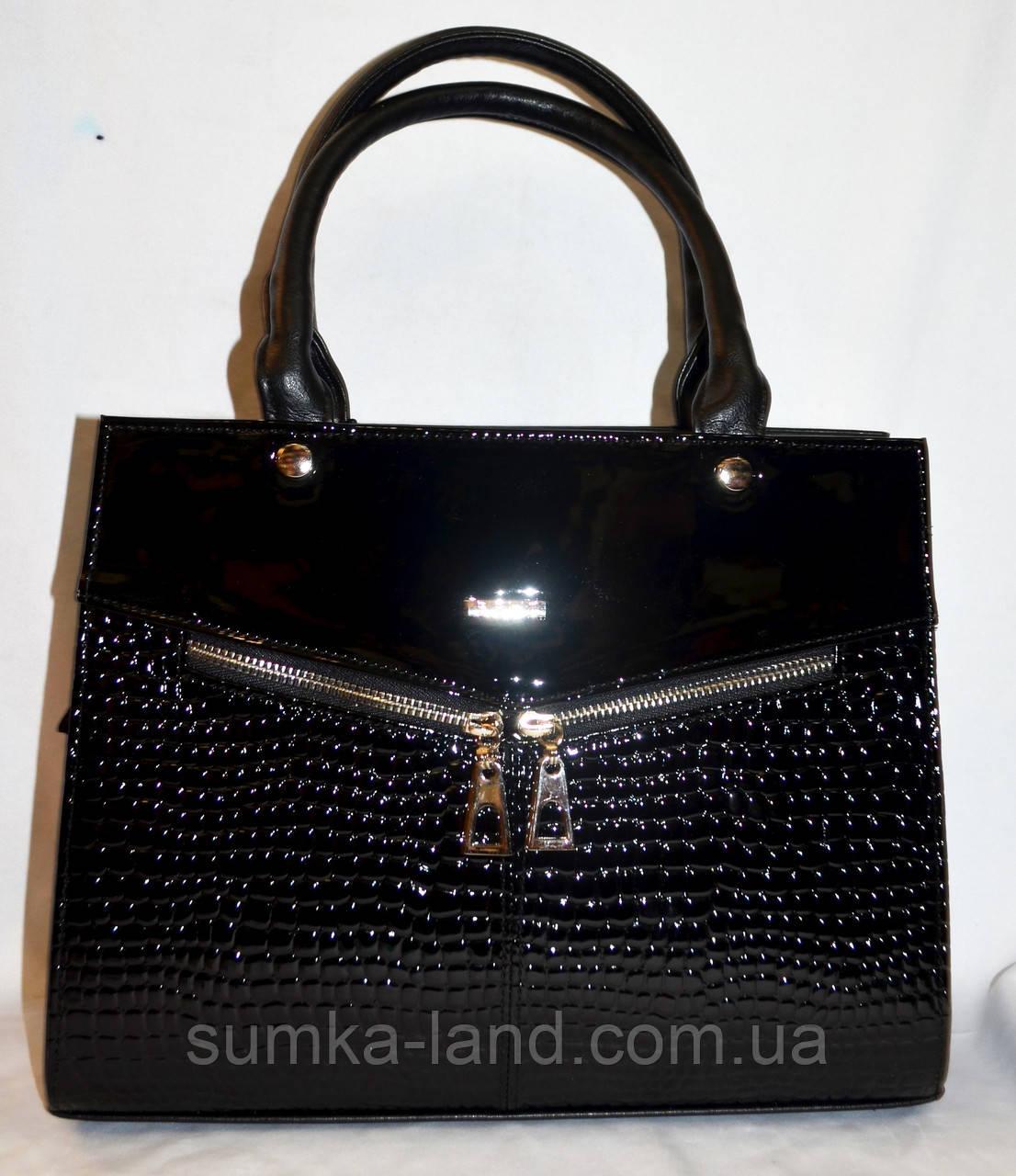 Женская каркасная сумка B Elit из кожзама с лаковой вставкой, с длинным ремешком 32*26 см (черный рептилия)