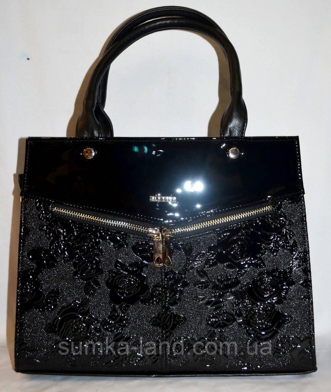 Женская каркасная сумка B Elit из кожзама с лаковой вставкой, с длинным ремешком 32*26 см (черный цветы)