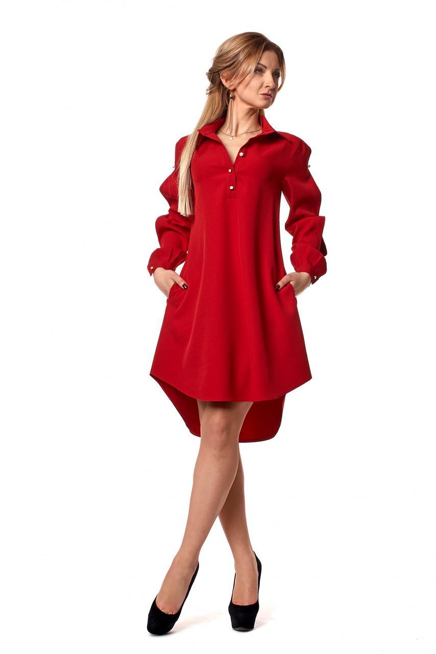 Платье-рубашка асимметричное (4 цвета)