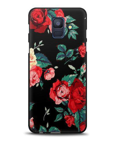 Силіконовий бампер чохол для Samsung A600f Galaxy A6-2018 з картинкою Троянди на чорному тлі