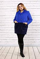 Женское осенее пальто из кашемира t0692 / размер 42-74 / цвет синий / большие размеры