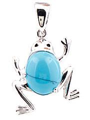 Подвеска-лягушка серебряная с бирюзой