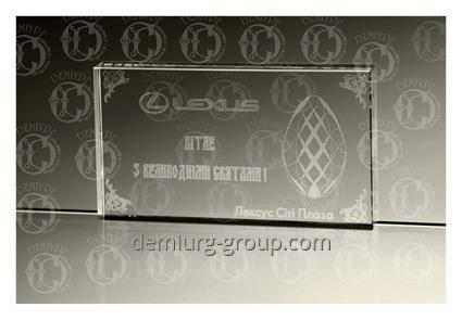 """Символичный сувенир из прозрачного стекла """"Вітання з великодніми святами"""", фото 2"""